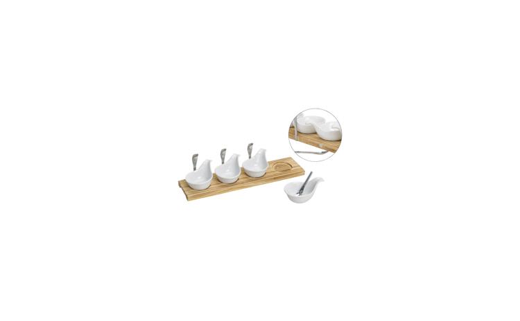 Set servire placa din lemn cu 4 boluri c