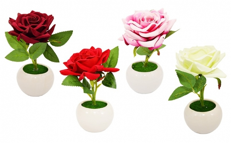 Trandafir artificial in suport ceramic, 19 cm, disponibil in 4 culori