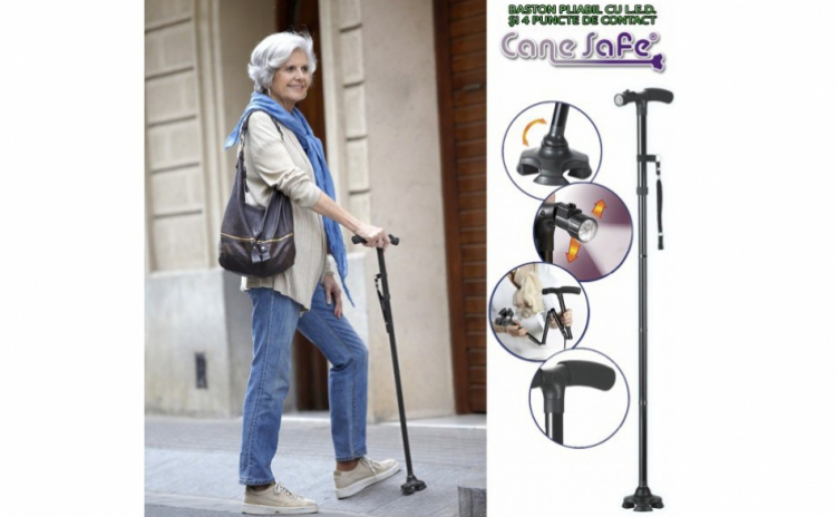 Trusty Cane - Baston pliabil cu LED si 4 puncte de contact, la 69 RON in loc de 149 RON