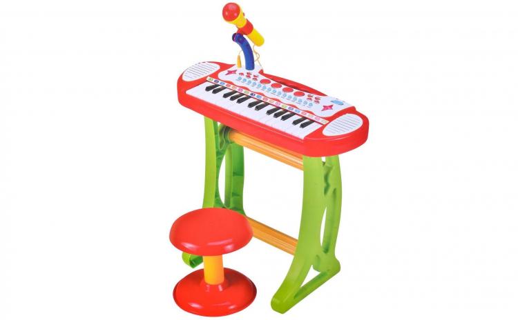 Orga electronica cu microfon si scaunel
