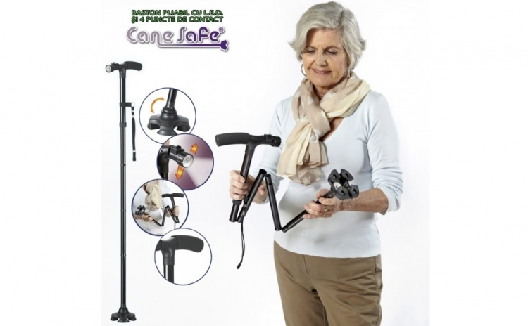 Baston de sprijin pliabil cu lanterna