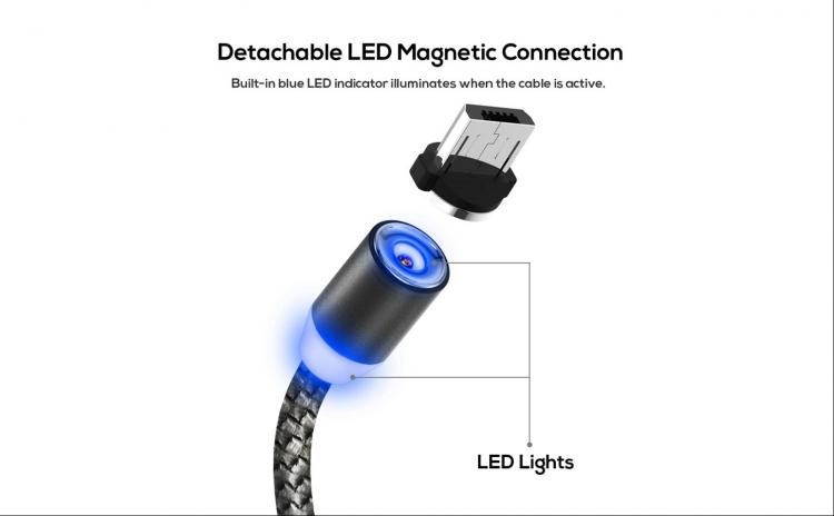 Cablu micro USB, magnetic, cu led - TOPK