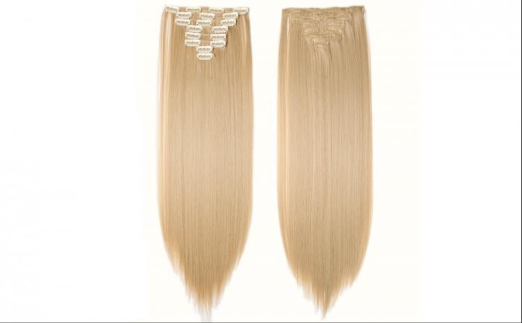 Extensii par natural clip-on, blond, 50 cm, 100 g