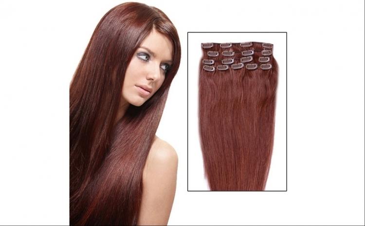 Extensii par natural clip-on, roscat, 50 cm, 100 g