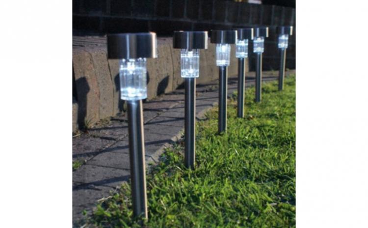 Set 6 lampi solare Stick, inox, H 36 cm