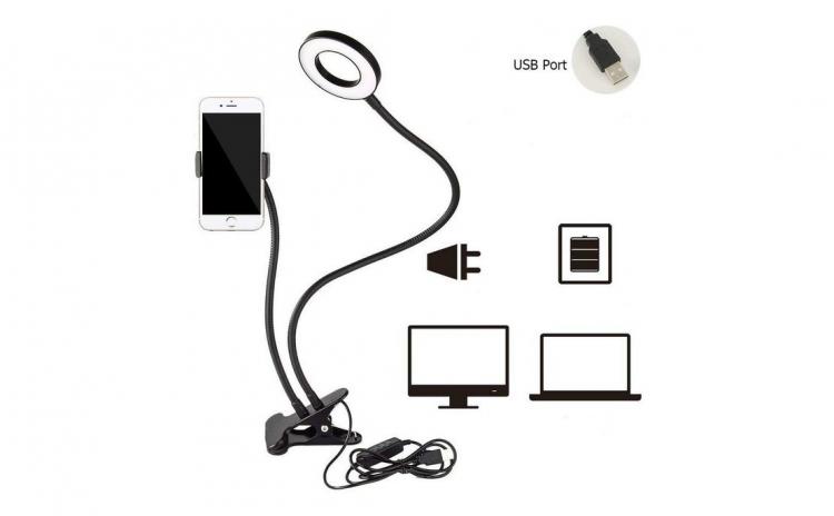 Suport telefon mobil cu lampa