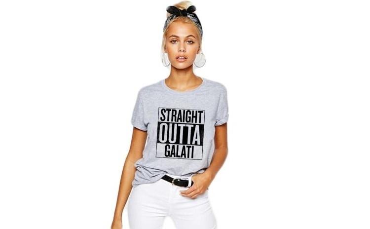 Tricou dama gri - Straight Outta Galati