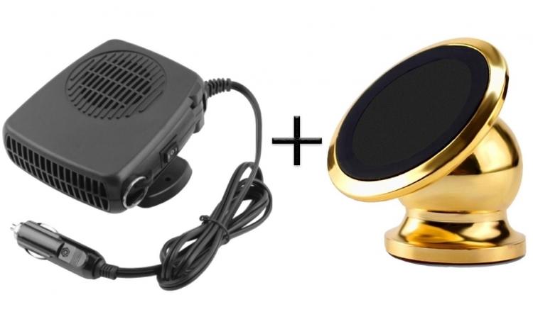 Aeroterma auto, mod Incalzire/Racire, ideal pentru masina + Suport telefon magnetic 360 grade pentru masina