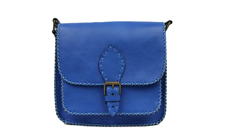 Imagine indisponibila pentru Geanta piele naturala lucrata manual in Romania-Sofia Blue Neon