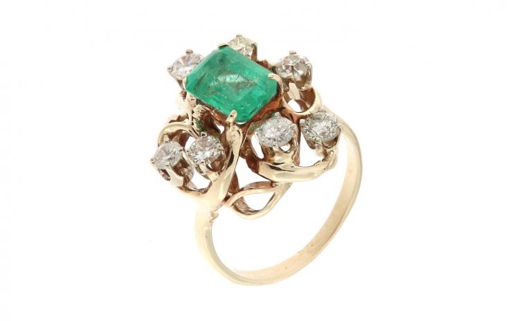 Inel din aur galben 9K cu smarald