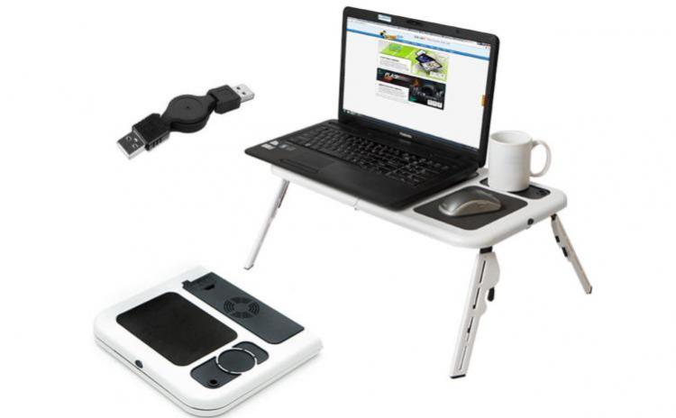 Masuta -Masa laptop cu 2 coolere + suport pahar + mousepad, la 67 RON in loc de 150 RON