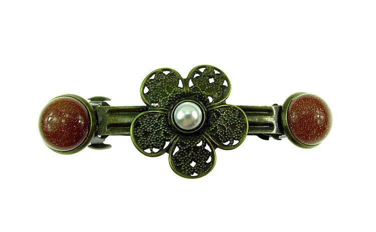 Clama de par floare bronz antic cu