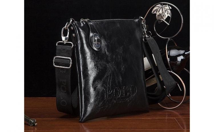 Geanta Polo Shiny Leather Neagra