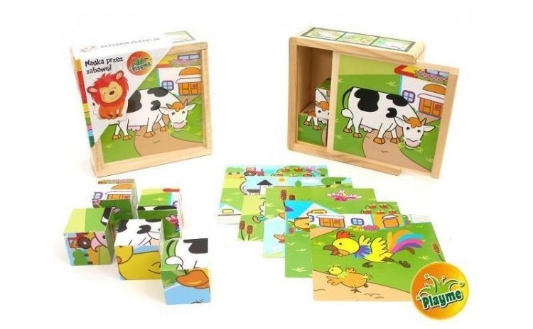 Puzzle cuburi de lemn  animale