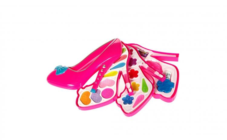 Set Trusa Machiaj Pentru Fetite In Forma De Pantof Cu Toc