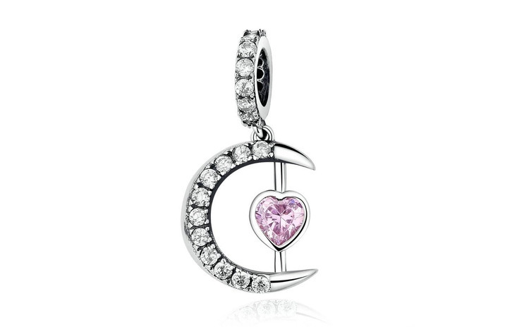 Talisman din argint 925 Pink Moon Heart
