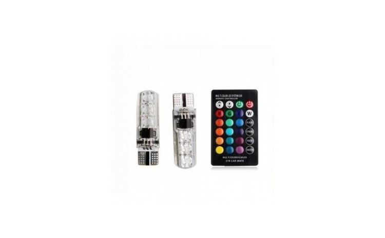 Set 2 led T10 RGB siliconat