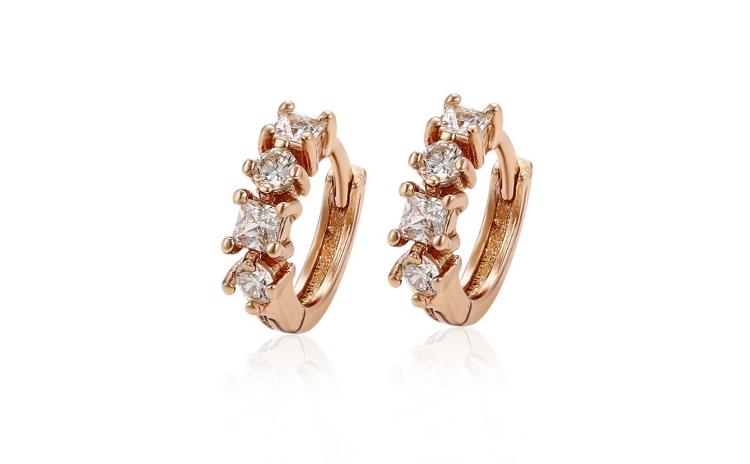 Cercei placati cu aur Diamond Minimal