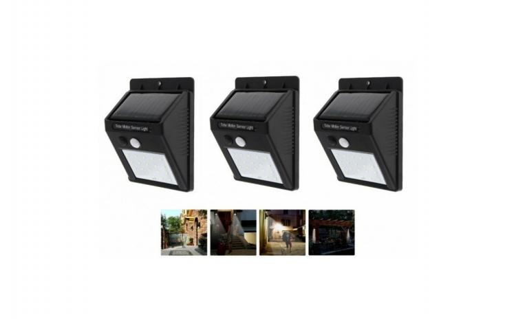 Set 3  Lampa solara de perete cu senzor