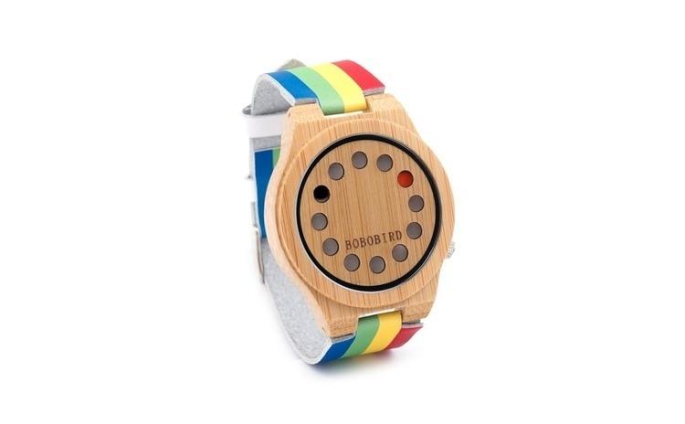 Ceas din lemn multicolor unisex