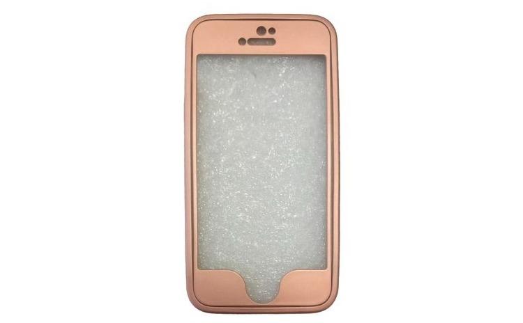 Husa iPhone 5-360 Silicone Roz-Auriu