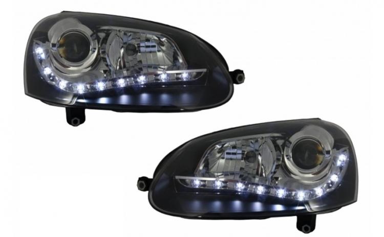 Set 2 faruri LED DRL cu Becuri Auto Halo