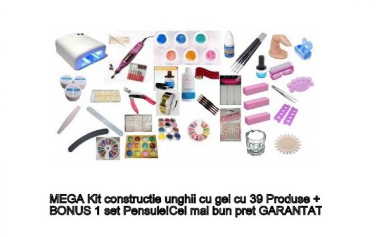 Mega Kit contructie unghii cu gel cu 39 produse + Bonus un set pensule, la doar 179 RON in loc de 399 RON