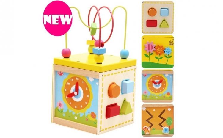 Cub din lemn Montessori 5 in 1, materiale si finisaje excelente, design atractiv