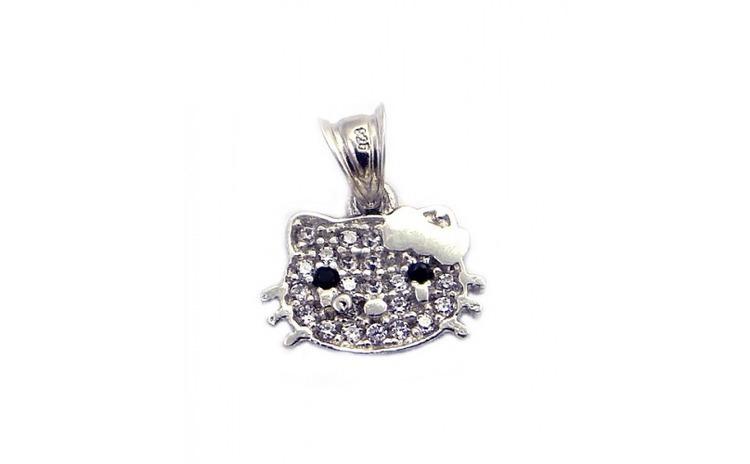 Pandantiv Hello Kitty cu Pietre, Argint