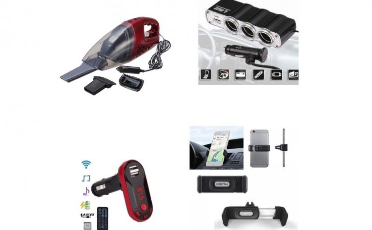 Pachet AUTO : Modulator FM mp3 player cu incarcator pentru diverse dispozitive incorporat + Aspirator Auto+ Priza bricheta tripla cu USB + Suport auto telefon, totul cu doar 89 RON in loc de 269 RON