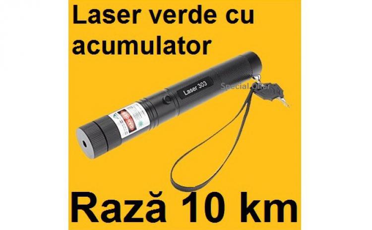 Laser puternic Verde 3D cu Acumulator 10000mW 18650 de 6800mAh cu Proiectii 3D si ZOOM, la 75 RON in loc de 150 RON