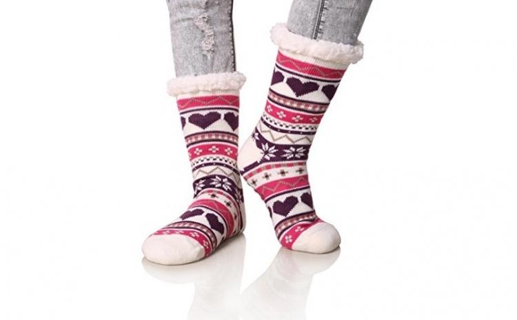 2 x Ciorapi, botosei Interior Imblaniti pentru femei, Model Winter Season