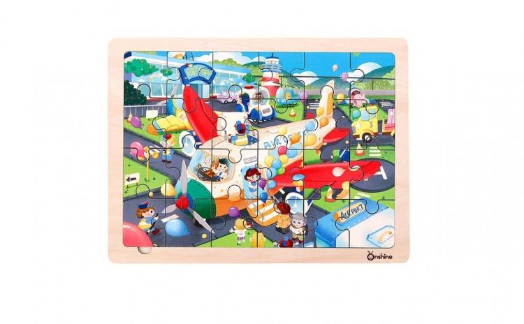 Puzzle lemn Aeroportul Onshine + suport