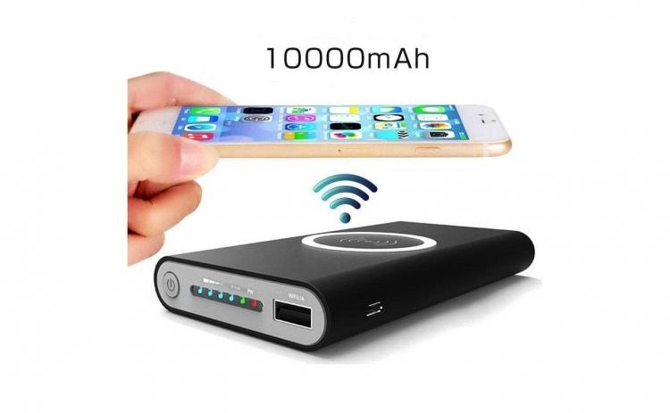 Baterie externa Wireless 10000 mAh, pentru iPhone 8, X, Samsung Galaxy S6/S7, Edge/Note, 5 cu USB, 2.1A, dual function