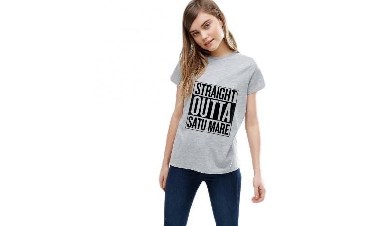 Tricou dama gri - Straight Outta Satu