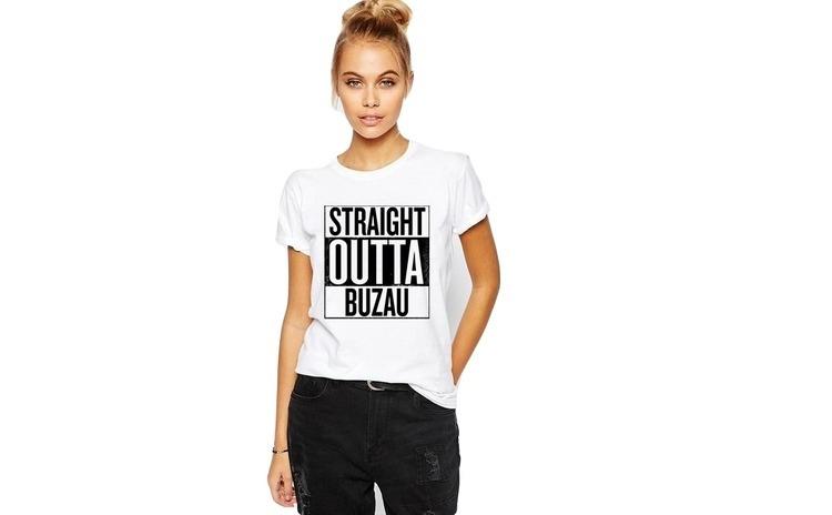 Tricou dama alb -  Straight Outta Buzau