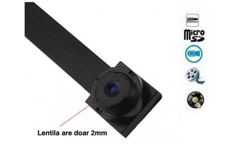 Microcamera Spion Cu Lentila De 2mm, Inregistrare Pe Card Sau Urmarire Prin Aplicatie Mobila