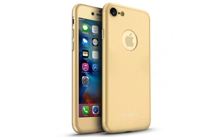 Husa Apple iPhone 7 Flippy Full Cover 360 Auriu + Folie Cadou