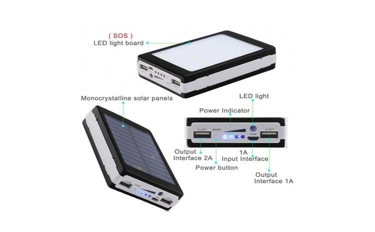 Baterie externa 20000 mAh, incarcare solara + Lanterna 20 LED