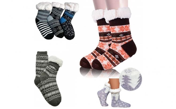 2 x Ciorapi, botosei Interior Imblaniti pentru femei + Barbati Model Winter Season