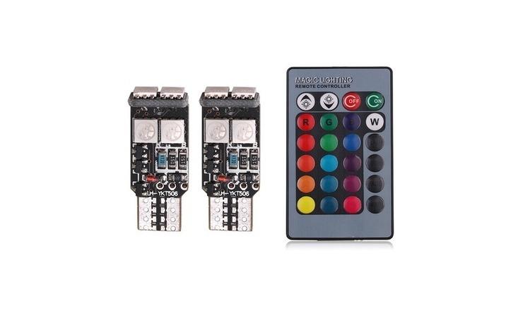 Bec pozitie RGB CU TELECOMANDA - T10 -