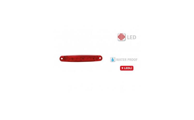 Lampa gabarit 9 led Rosu 12V-24V Slim