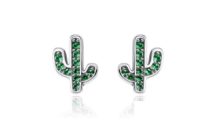 Cercei din argint 925 Green Cactus