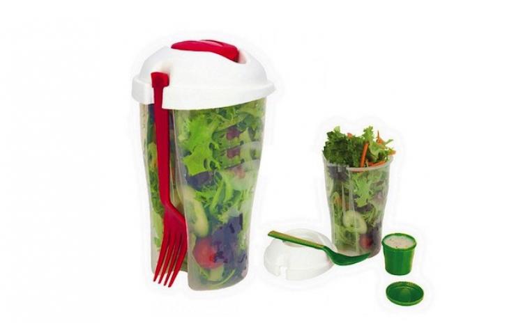Pahar Pentru Salata + Recipient De Sos + Furculita La Doar 54 Lei In Loc De109 Lei! Garantie 12 Luni!