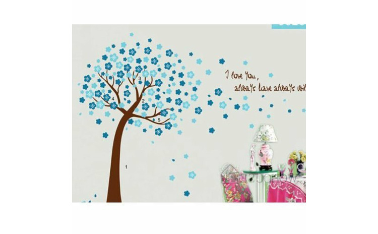 Sticker decorativ, Copacel cu flori