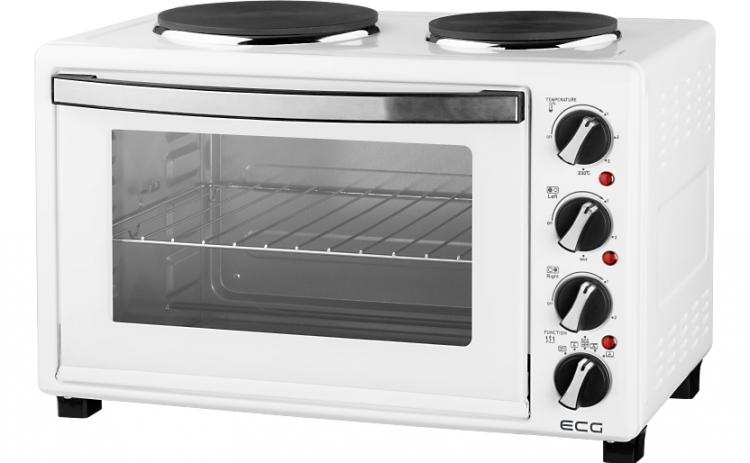 Cuptor electric ECG ET 3032 White, 3100 W, 30L, rotisor, 2 plite din fonta