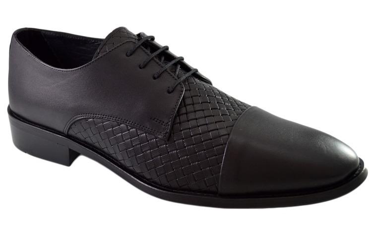 Pantofi Negri Barbati, model Impletit