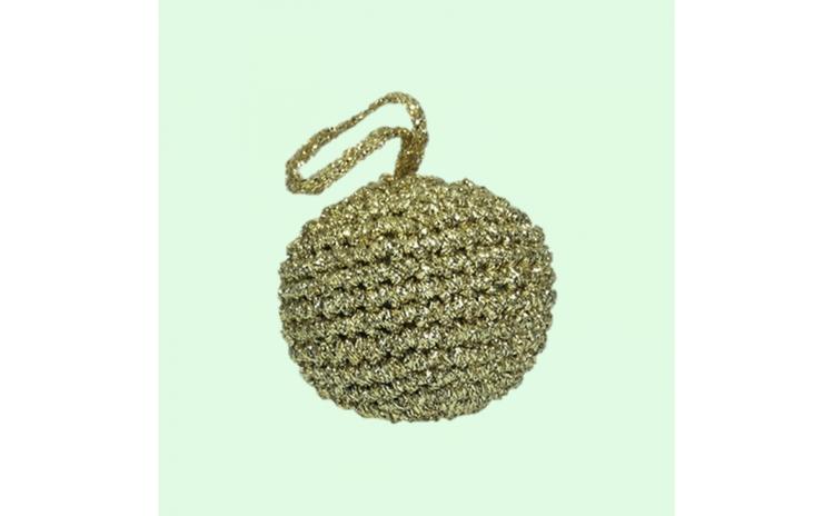 Glob Craciun  Handmade  Crosetat  Auriu