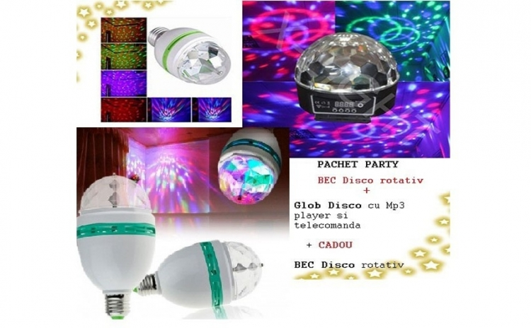 Glob disco, cu Mp3 player si telecomanda + bec disco rotativ