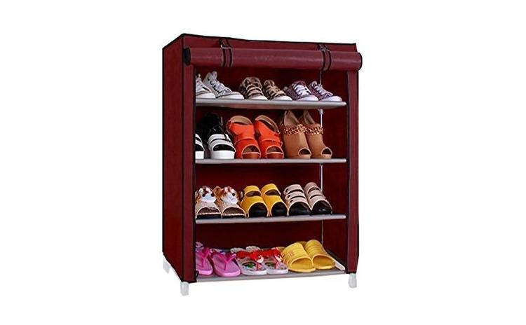 Organizator pantofi cu husa, 4 etajere